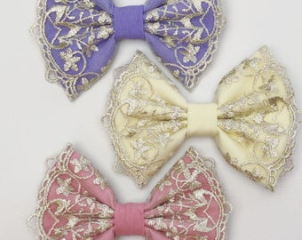 Spring Lace Bows, girl bows, hair bows, embroidered bows
