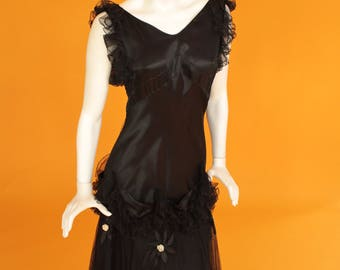 Vintage 1930s Black Satin and Net Evening/Party Dress/Gown Bias Cut with Floral Embellishments. UK 8-10 US 4-6