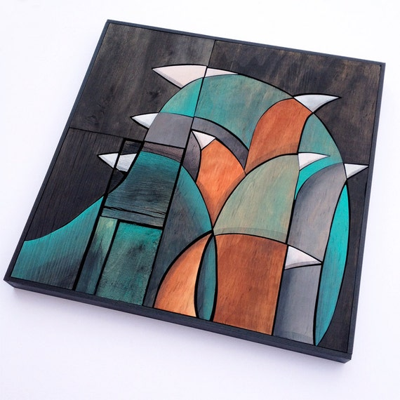 FLOCK - Original Mixed Media - Fractal Collage - Reclaimed Recycled Wood