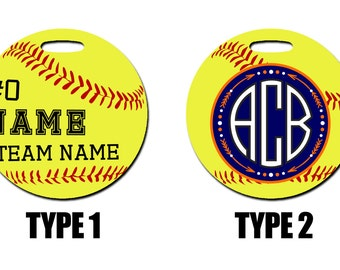 Personalized Softball Bag Tag. With name, team name, and number. Option of Monogram.