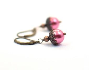 Pink Beaded Earrings, Gift for Her, Gift for Women, Christmas Gift, Dangle Earrings, Pink Drop Earrings, Simple Earrings, Jewelry Gift