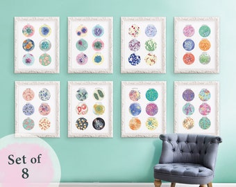 Set of 8 Microbiology Bacteria, virus, defensive cell bundle collection, print set, wall decor, science Art poster, 8 x 10 in, 11 x 14 in