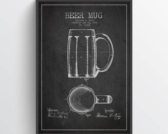 1876 Beer Mug Patent Poster, Beer Poster, Beer Print,  Home Decor, Gift Idea, LSFB09P