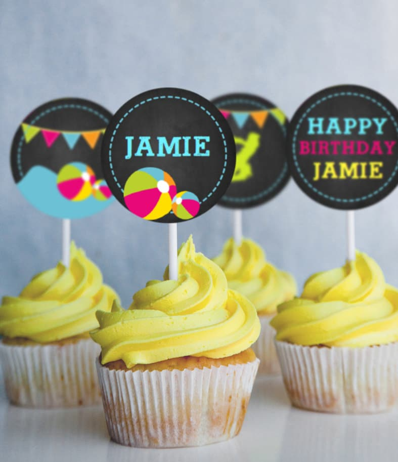 Summer Pool Party Cupcake Toppers Instantly Downloadable And