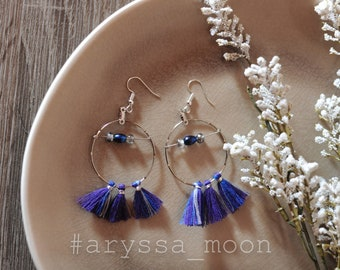 Earrings silver purple tassels and beads