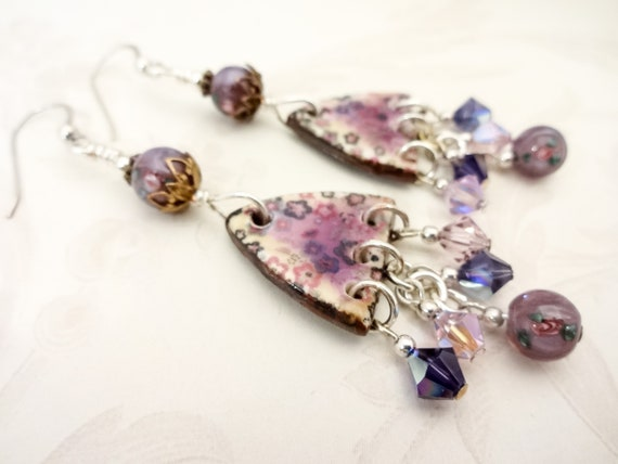 Purple Ceramic Triangles with Swarovski Crystals and Lamp Glass Earrings