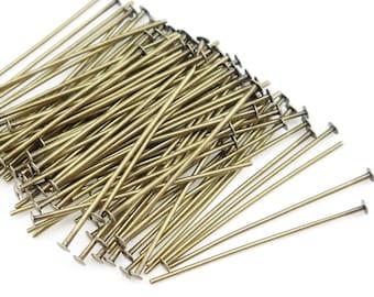 "100 1"" Antique Brass Head Pins Brass Headpin Findings Aged Solid Brass 1 Inch 22 Gauge Head Pins Bronze Findings 22g Pins (FSAB37)"