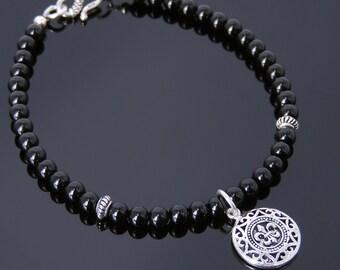 Men's Women Bright Black Onyx 925 Sterling Silver Bracelet Fleur de Lis Pendant Gemstone DiyNotion Handmade BR736