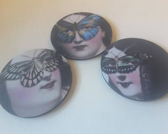 3 rubber backed coasters, butterfly design