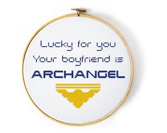 Mass Effect Lucky For You Your Boyfriend Is Archangel Cross Stitch Pattern