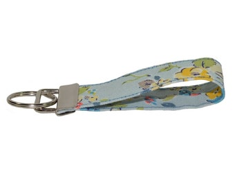 Cath Kidston Woodland Rose Handmade Fabric Keyring On Chunky Metal Key Fob