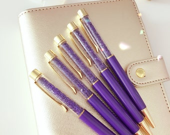 Jewel Diamonds Ballpoint Pen : PURPLE crystal Metal Pen with BLACK Ink | Back To School | Office | Life Planner Pen Desk Accessories.