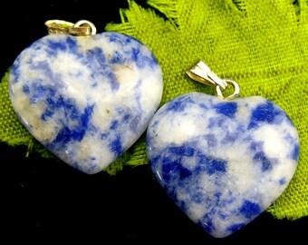 20mm Pair of Natural Sodalite Gemstone Heart Gemstone Pendants  Pair of Sodalite