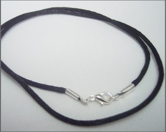 "Necklace Cord  Black Satin YOU CHOOSE LENGTH 15-32"" silver plated Lobster Clasp jewelry"