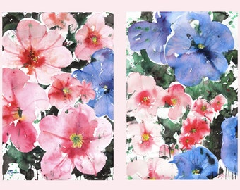 Diptych No.2 flowers, limited edition of 50 giclee prints from my original watercolor