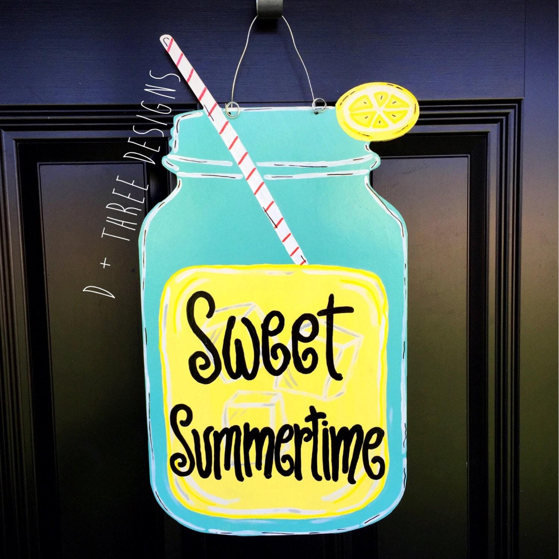 Southern Lemonade Sweet Summetime Mason Jar Wooden Door Hanger ...