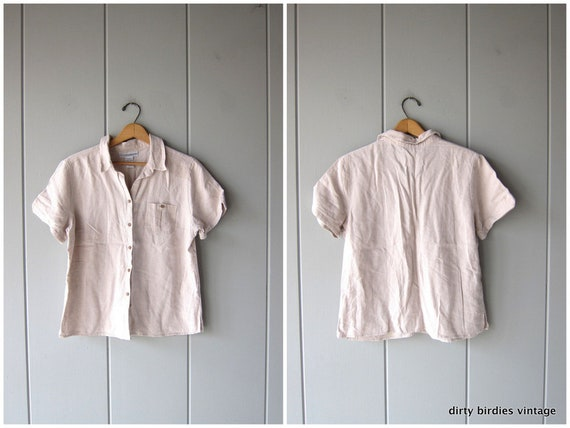 Natural Linen Blouse 90s Minimal Top Button Up Short Sleeve Boxy Simple Rayon Tee Beige Modern Basic Top Casual Shirt Vintage Womens Medium