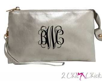 Monogram Crossbody Purse, monogram clutch, monogram purse, bridesmaids gift, monogram wristlet, personalized handbag wallet crossbody bag