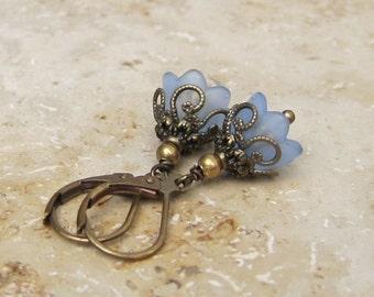 Small flowers earrings blue bronze vintage style
