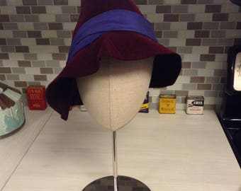 Unique 1940's Vibrant Deep Wine Burgundy Purple Wool Felt Tilt Tapered Cloche Hat w/Wide Gathered Silk!