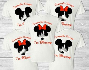 Disney Family Vacation Shirt - Mickey Head & Cinderella's Castle - Personalized Birthday Shirt