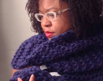 Chunky Navy Blue Extra long Scarf Wrap