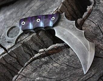 "Handcrafted FOF ""Minion"", survival karambit blade"
