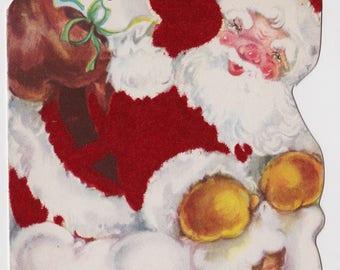 Vintage WHITNEY Christmas Card retro MID CENTURY Santa Claus flocked grandson