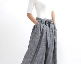 Linen palazzo pants, Grey Linen pants, linen pants, wide leg pants, long linen pants, women linen pants, summer pants, loose linen pants 308