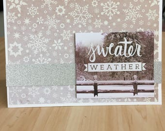 Sweater Weather Snowflake Holiday Christmas Card