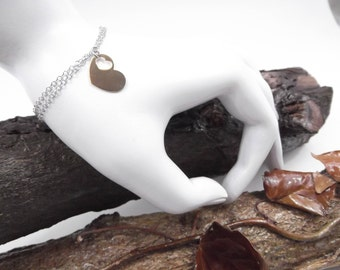 Bracelet woman charm heart yellow double chain Rolo silver 925 gift idea-woman bracelet yellow heart charm double chain Rolo 925 silver
