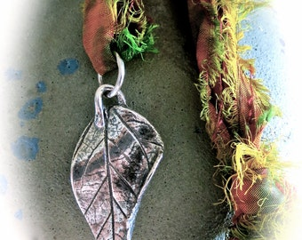 Fine Silver Turning Leaf Pendant Charm Necklace on SILK Sari Ribbon