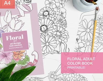 Floral Adult Coloring Book Pdf - 10 coloring pages printable - coloring books for grown ups -  adult coloring printable pages