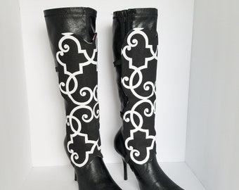 Boot Spats Boot Cuffs Toppers Anklets Custom Leather Boot Socks Leg Warmers Decor Flower Black White Geometric Thigh High Boots OOAK