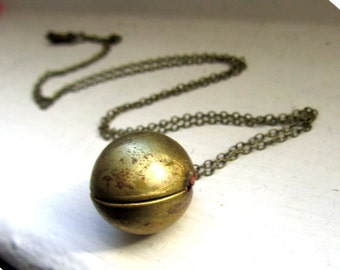 27inch chain Antique Vintage ball locket long necklace antique bronze chain