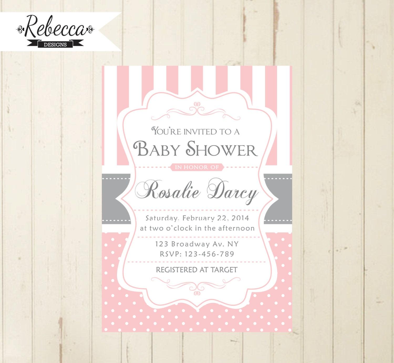 pink baby shower Invitation cottage chic grey pink brunch baby