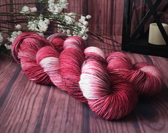 Hand Dyed Yarn, Sock Yarn, Indie Dyed Yarn, Merino Wool Yarn - Roses and Wine on Simple Sock