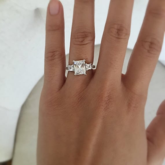 Items Similar To Emerald Cut Rectangle Engagement Ring
