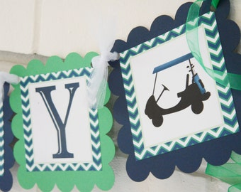 happy Retirement Golf banner, Happy Retirement banner, Golf party, Golf cart, Chevron banner, chevron golf banner, blue and green