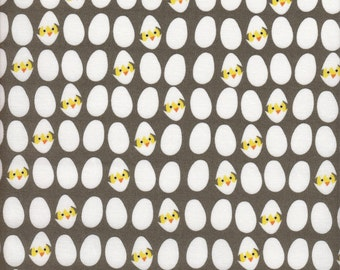 Dear Stella Designs E-I-E-I-O Eggs in Gray - Half Yard