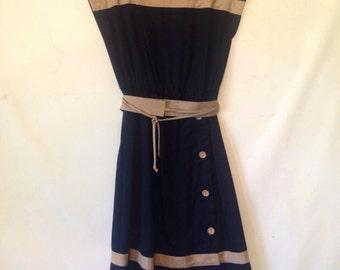 vintage 1980s dress navy blue dress vintage dress 1980s 80s eighties navy and beige dress short sleeve dress sailor dress with belt