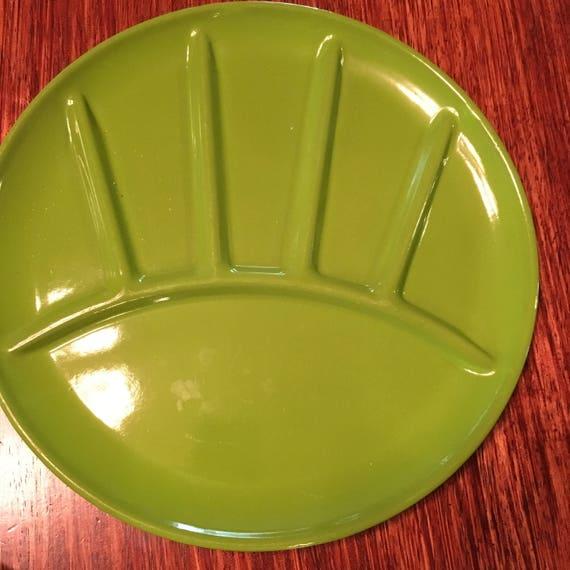 Set/4 Mid Century Avocado Green Enamel Fondue Plates