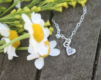 Initial Necklace · Tiny Heart Necklace · Mother Gift · Initial Jewelry · Custom Name Necklace