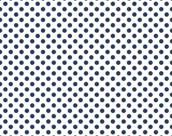 Riley Blake Small Dots, Navy on White, fabric by the yard