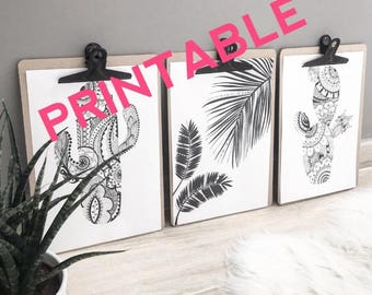 PRINTABLE black and white tropical trio