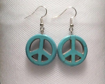 Turquoise howlite stone bead peace sign earrings medium sized