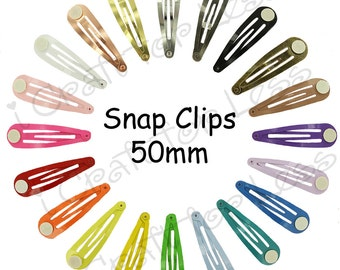 25 Blank Barrette Snap Clips w/ Glue Pads - Pick Color - Tear Drop Shape - 50 mm (2 inches) - SEE COUPON