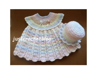 Crochet Dress and Sun Hat Baby Crochet Pattern (DOWNLOAD) 82BFJC