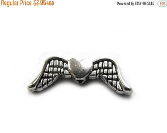 HALF PRICE 10 Silver Heart Wing Charms  -  20mm - Double Wings