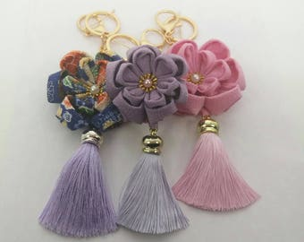 Handmade Camellia Key Chain, Oriental Key Chain for decoration in Kanzashi Japanese Style